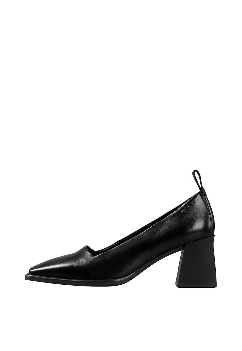 Pantofi din piele cu toc patrat sculptat Hedda