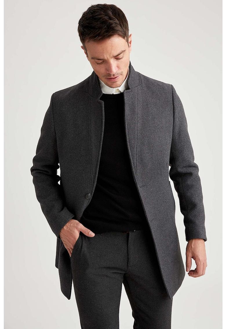 DeFacto Palton din amestec de lana cu revere inversate