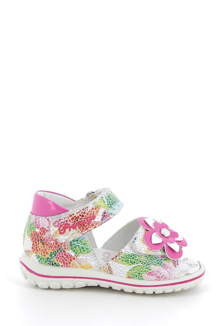 Sandale de piele intoarsa cu model floral