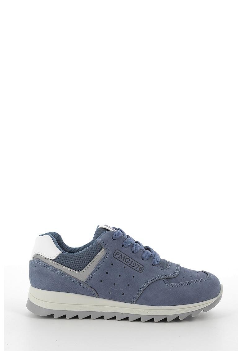 Pantofi sport de piele nabuc si material textil de la Primigi