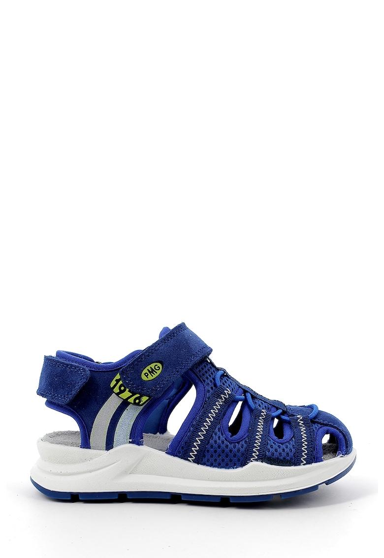 Sandale din material textil cu garnituri de piele intoarsa