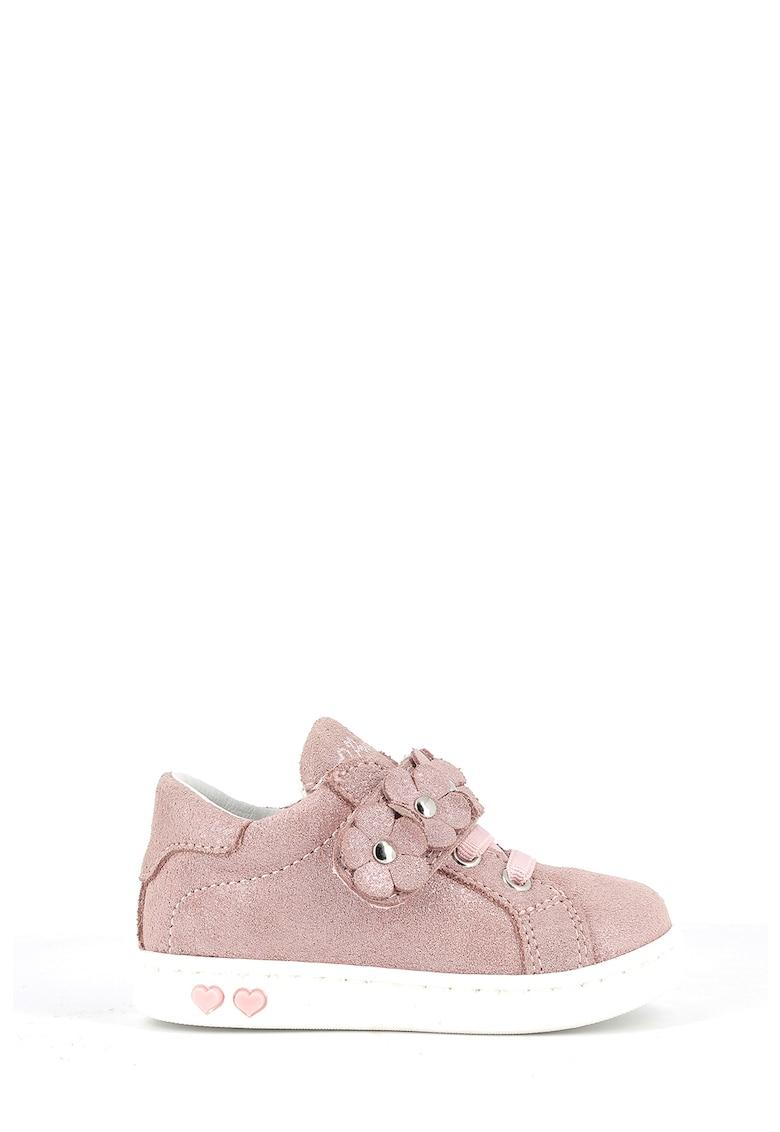 Primigi Pantofi sport de piele intoarsa peliculizata cu aplicatii florale
