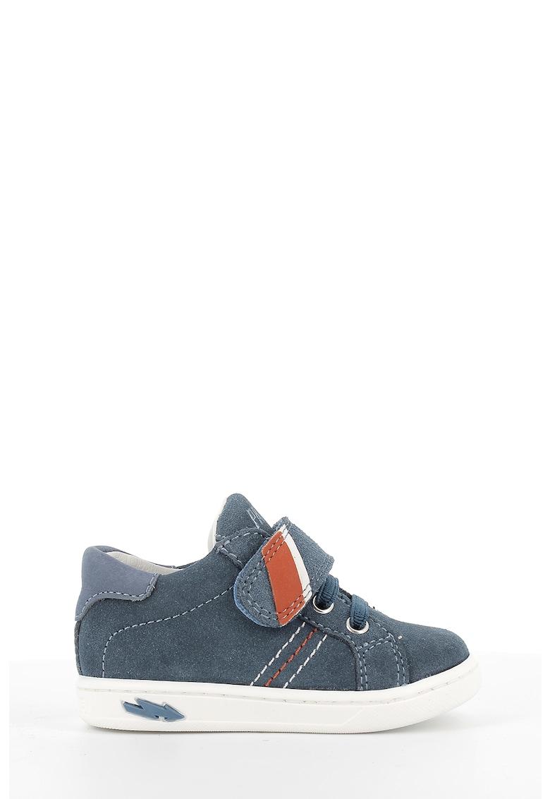Pantofi sport de piele si piele intoarsa cu banda velcro