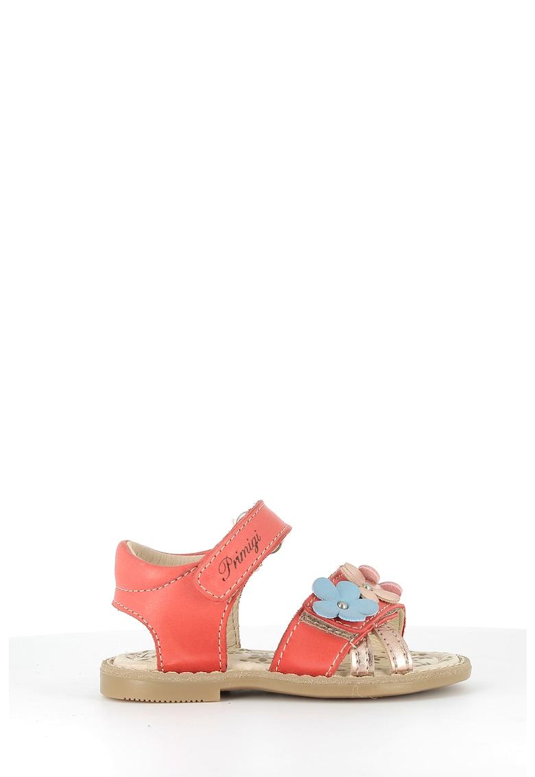 Sandale de piele cu velcro si aplicatii florale
