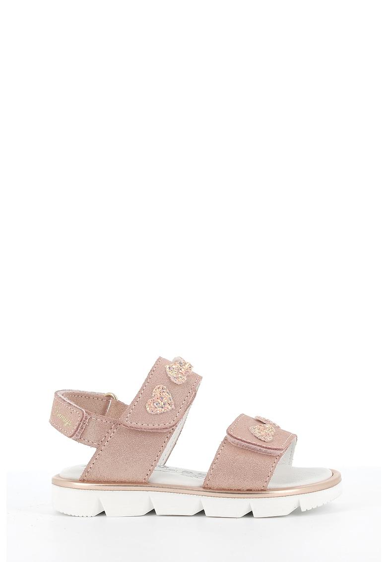 Sandale slingback de piele intoarsa cu aspect stralucitor