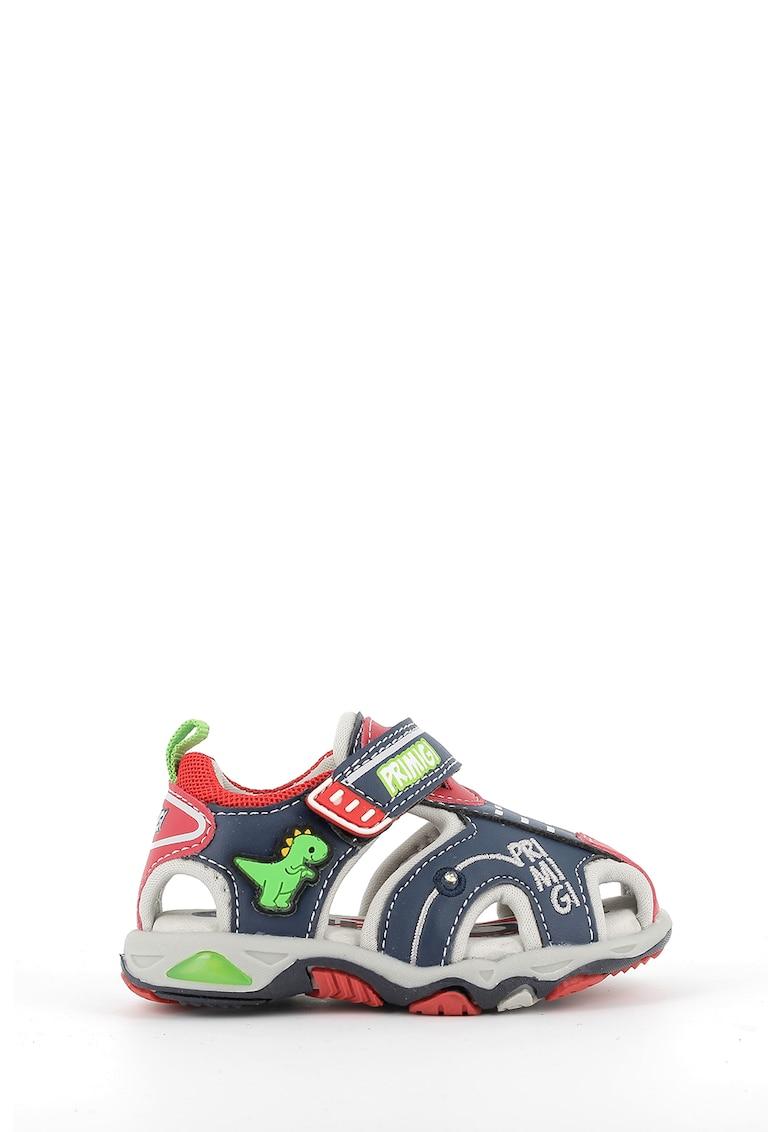 Sandale de piele ecologica cu velcro si logo brodat