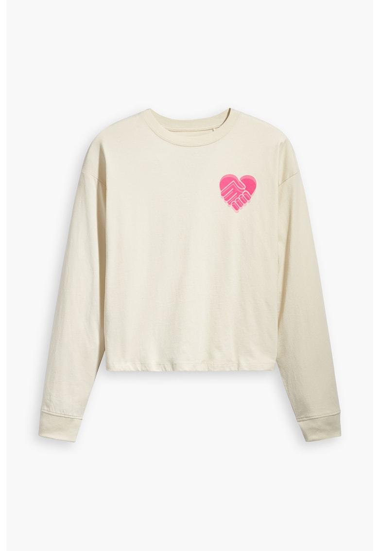 Bluza in dungi cu text brodat Levi's fashiondays.ro