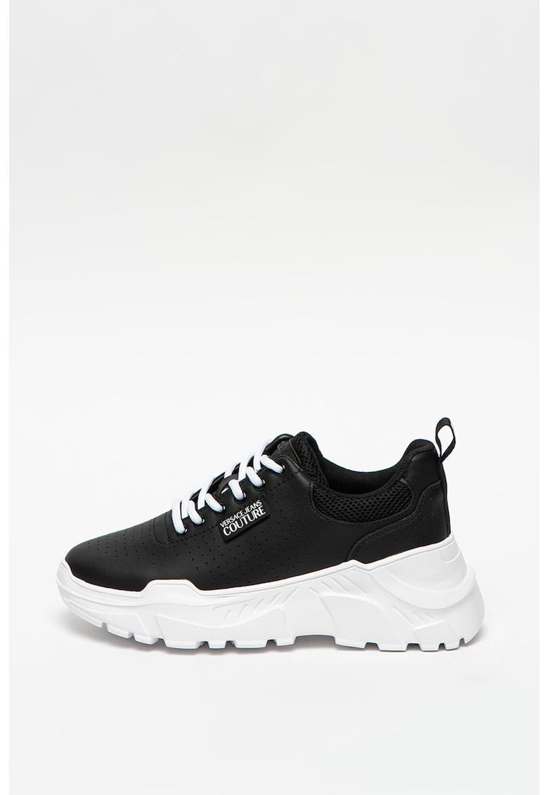 Pantofi sport wedge de piele si material textil imagine promotie