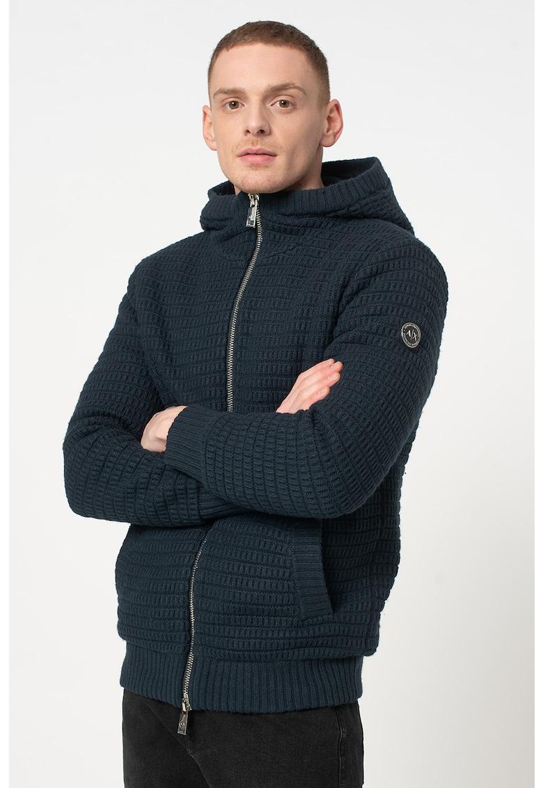 Hanorac din amestec de lana cu fermoar si aspect tricotat
