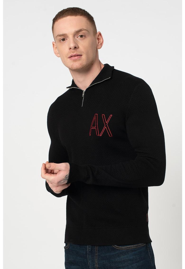 Pulover tricotat fin cu fermoar scurt si imprimeu logo