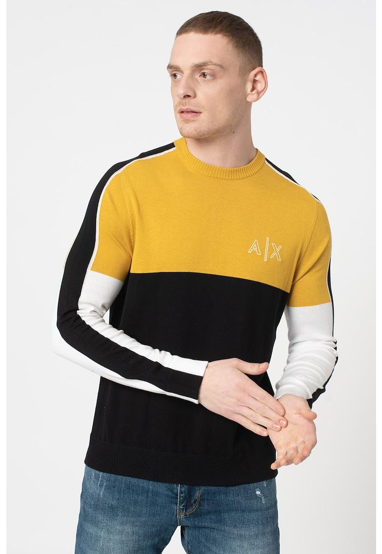 Pulover tricotat fin cu model colorblock imagine