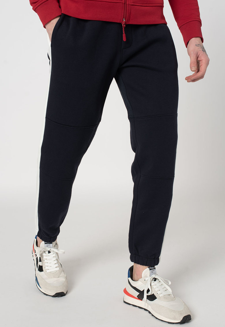 Pantaloni sport cu snur si parti laterale contrastante imagine promotie