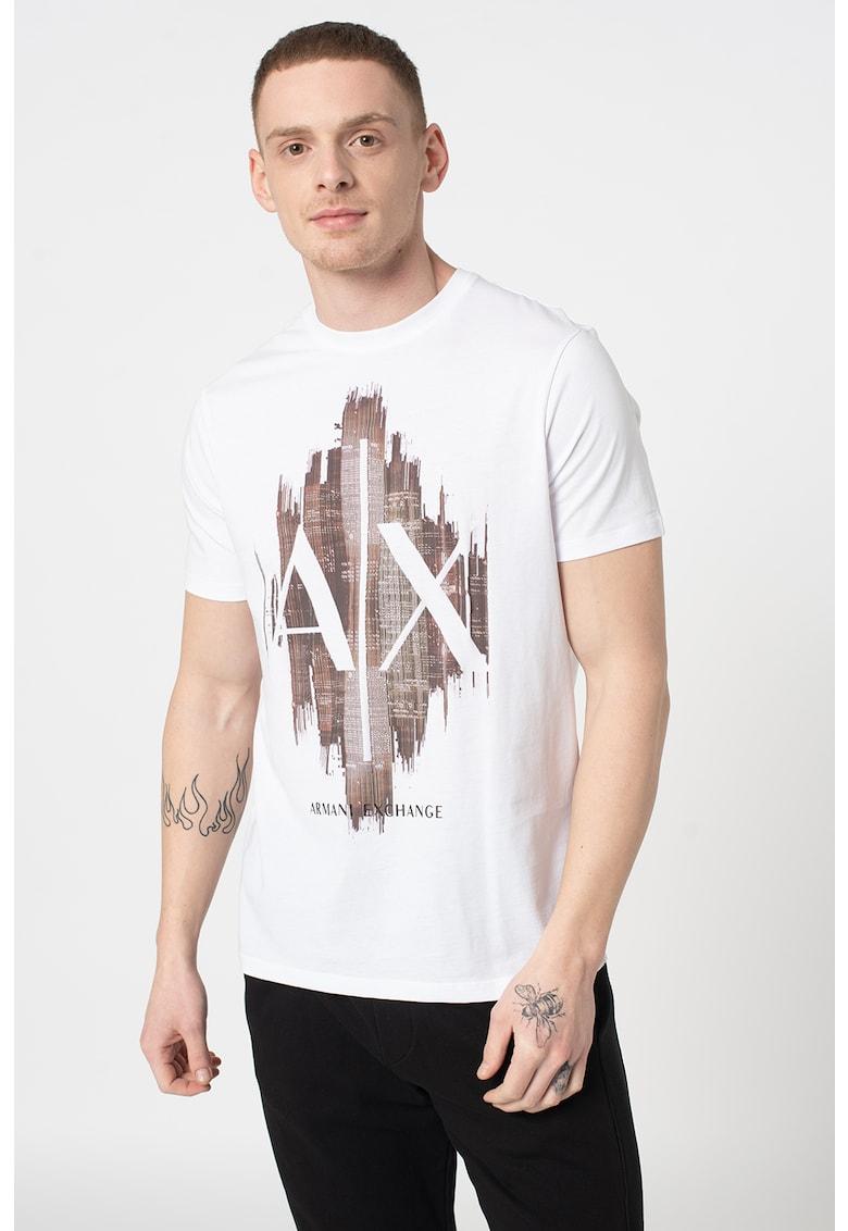 Tricou cu imprimeu grafic si logo si decolteu la baza gatului