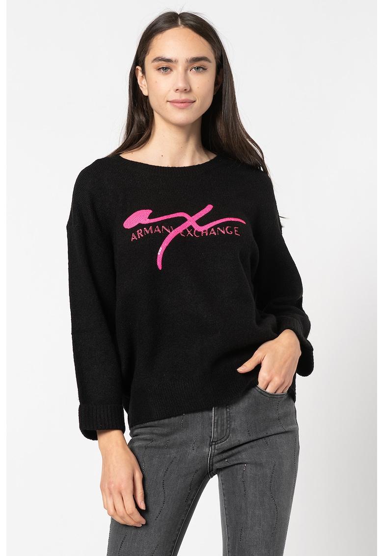 Pulover tricotat fin cu logo