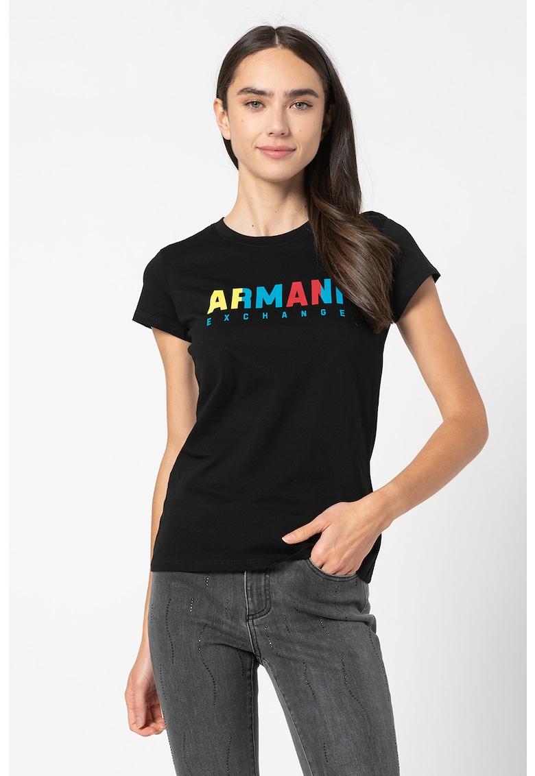 Tricou slim fit cu imprimeu logo imagine promotie