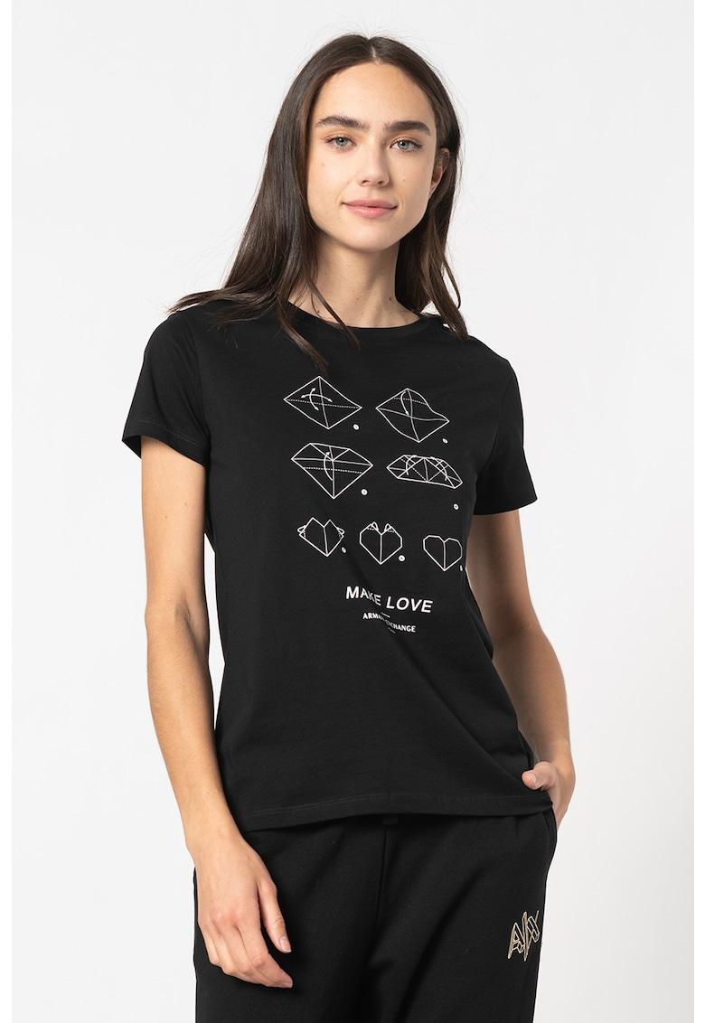 Tricou de bumbac cu imprimeu origami imagine promotie