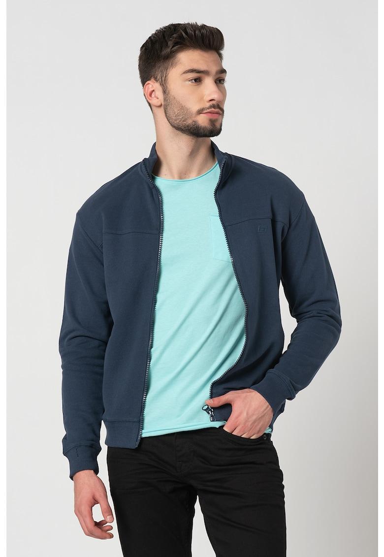 Bluza sport cu fermoar si guler scurt