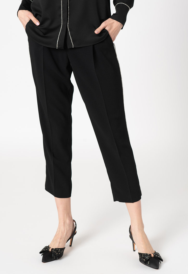 Pantaloni crop conici cu strasuri Ballata