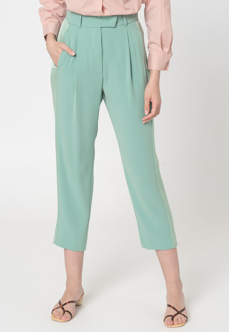 Pantaloni crop cu talie inalta Monia