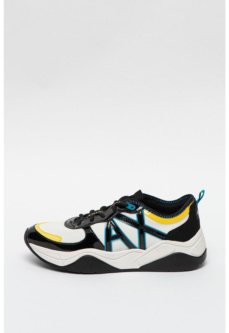 Pantofi sport wedge de piele ecologica cu aspect colorblock imagine promotie