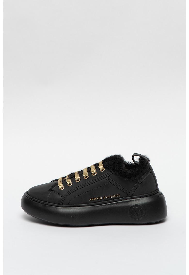 Pantofi sport wedge de piele ecologica cu captuseala de blana sintetica imagine promotie