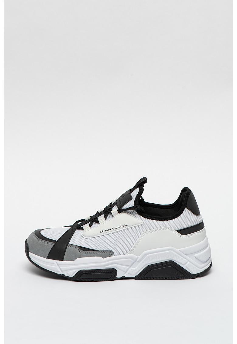 Pantofi sport cu aspect masiv si detalii de piele intoarsa ecologica imagine promotie