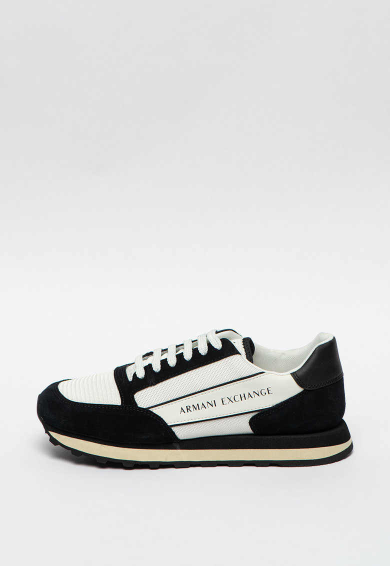 Pantofi sport de piele intoarsa ecologica cu detalii de piele imagine promotie