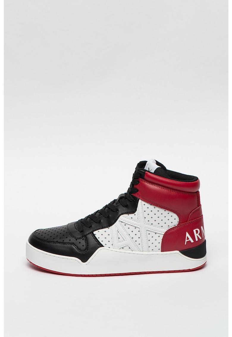 Pantofi sport high-top de piele ecologica cu perforatii Star imagine promotie