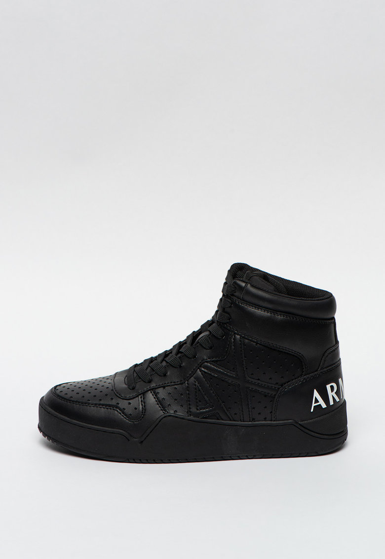 Pantofi sport high-top de piele ecologica cu perforatii laser imagine promotie