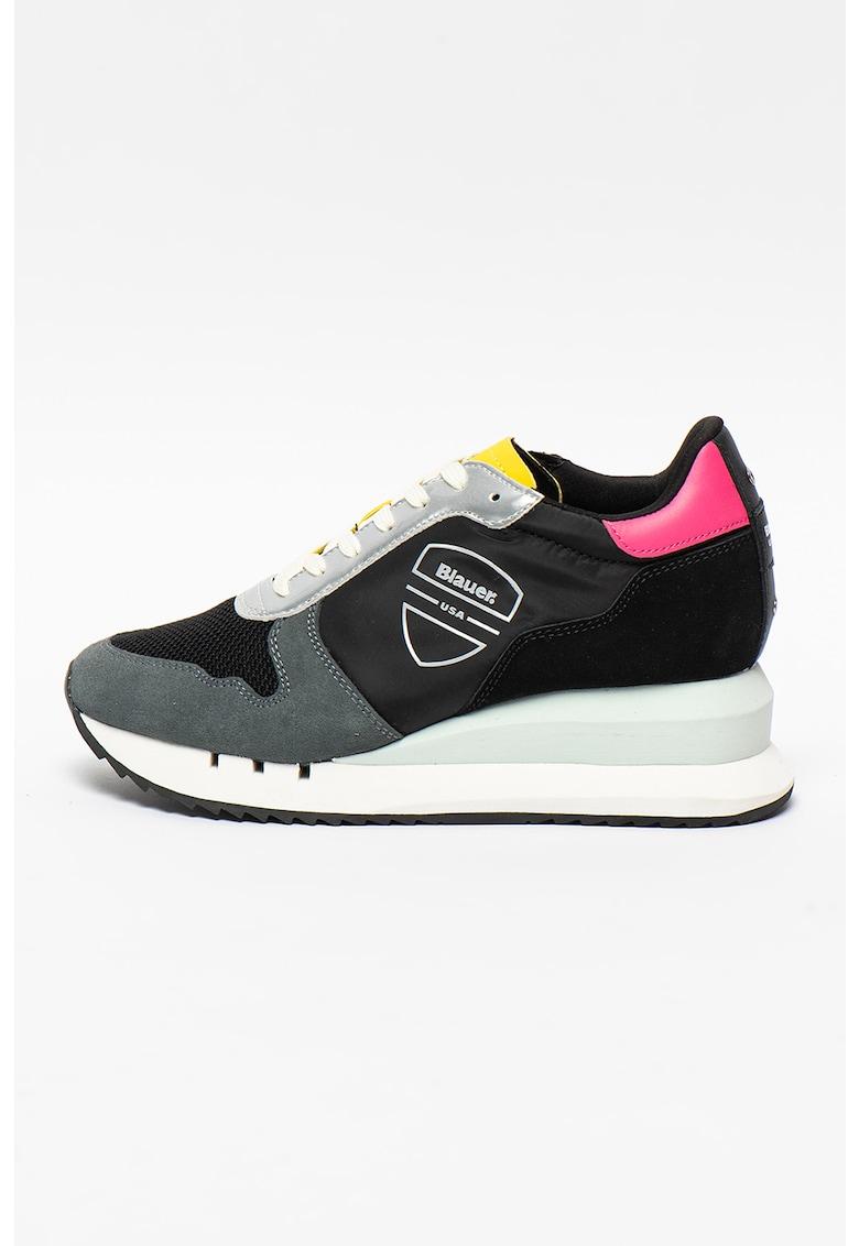 Pantofi sport cu talpa wedge si insertii din piele intoarsa Casey