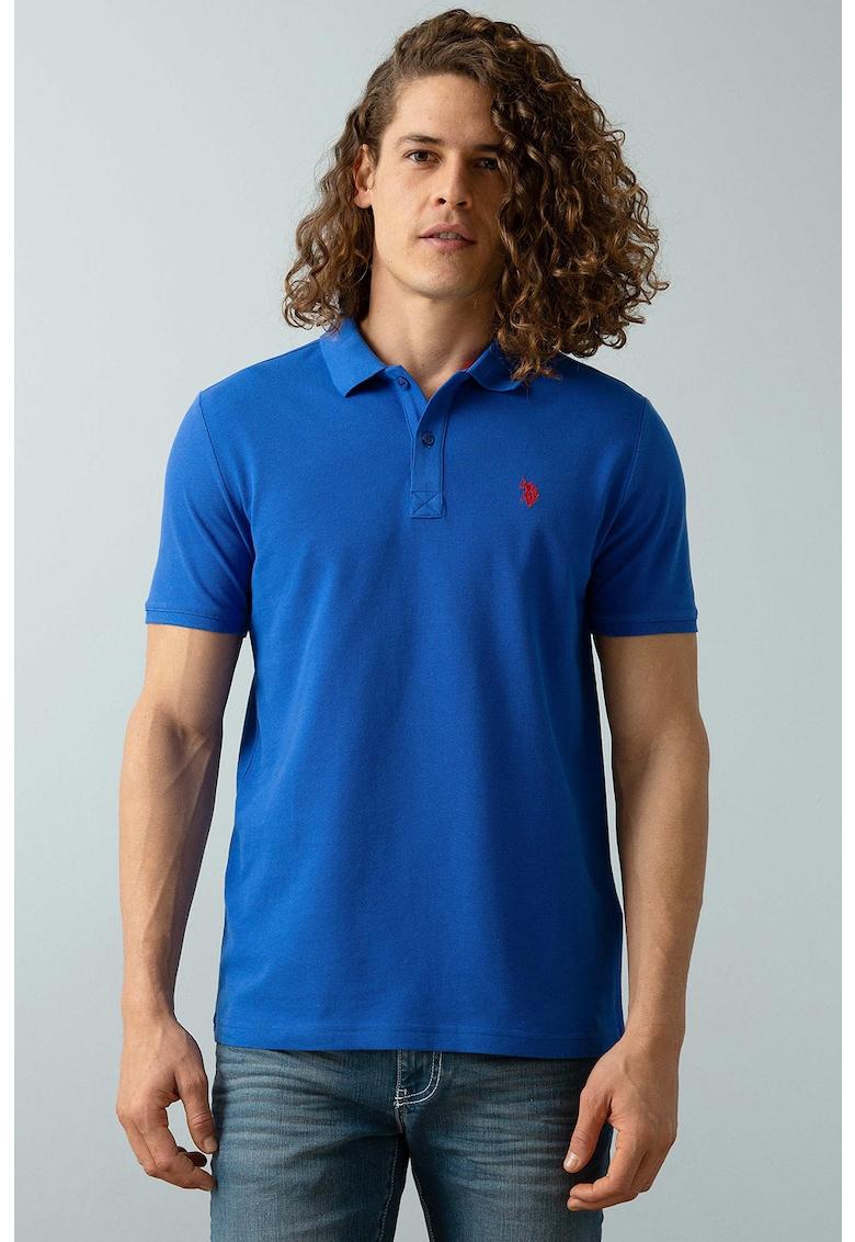 Tricou polo slim fit cu logo brodat pe piept Bărbați imagine