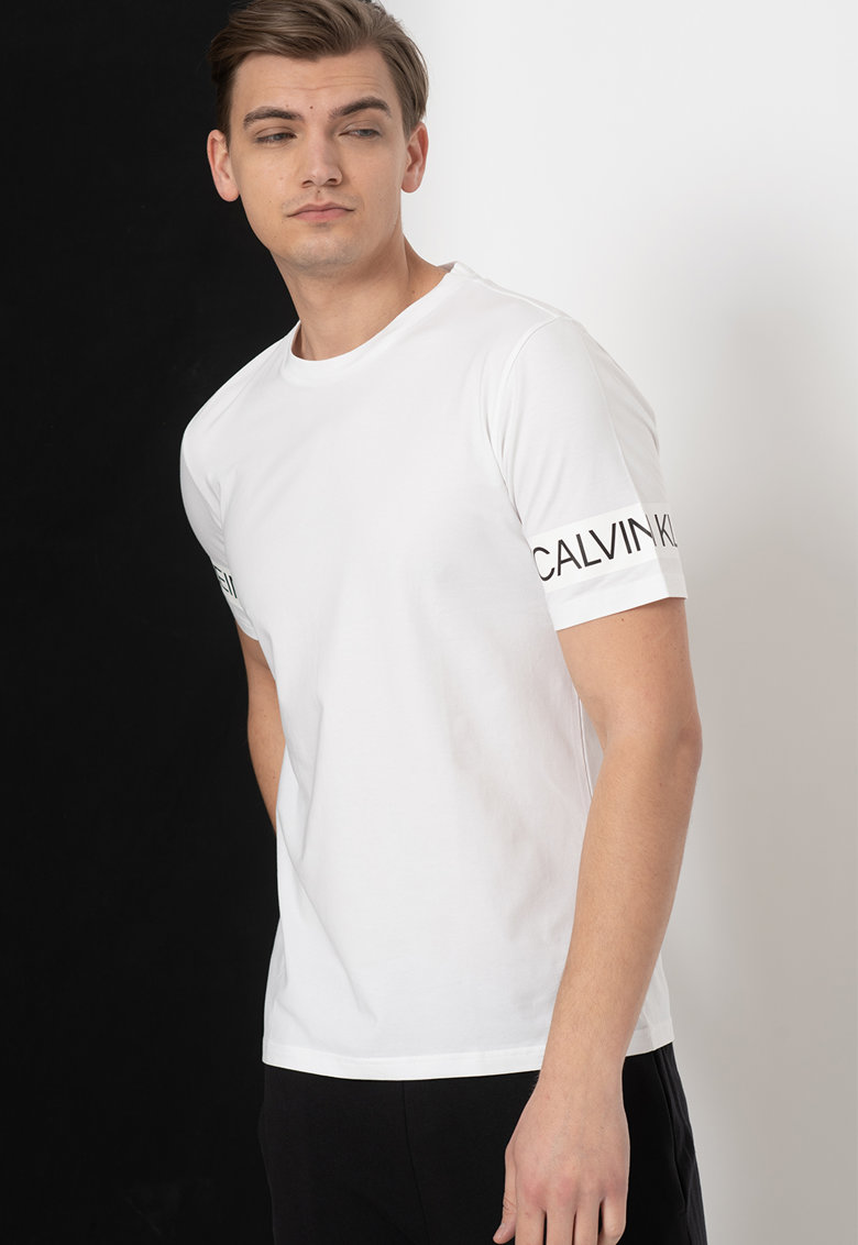 Tricou cu detaliu logo pe maneca Bărbați imagine