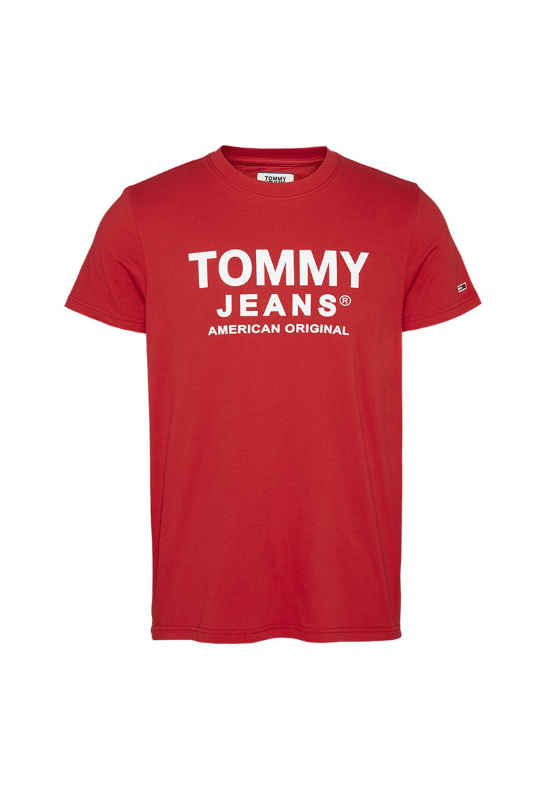 Tricou din bumbac organic cu imprimeu logo imagine promotie