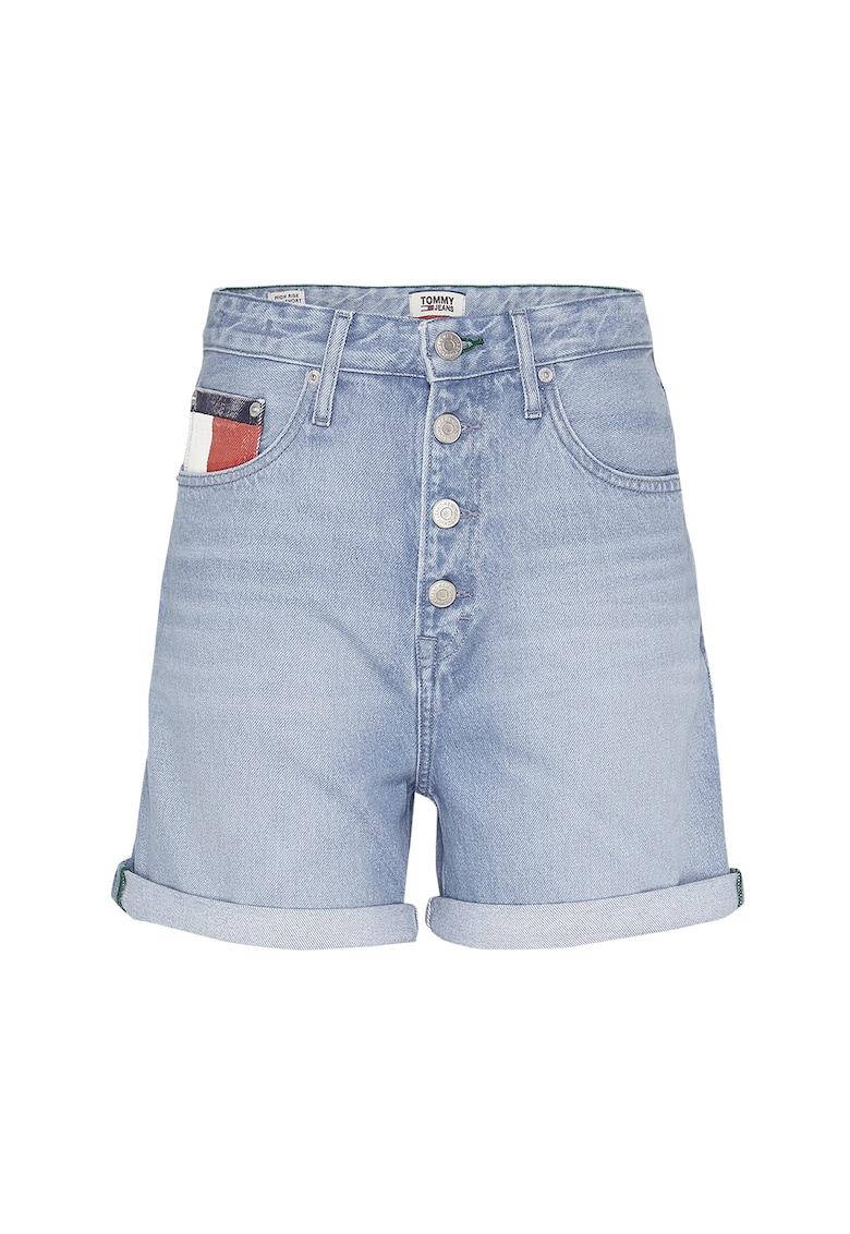 Pantaloni scurti din denim cu talie inalta si aspect decolorat imagine promotie