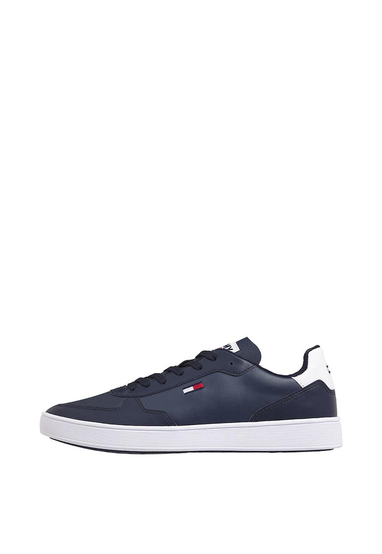 Pantofi sport de piele si piele ecologica cu detaliu logo imagine promotie