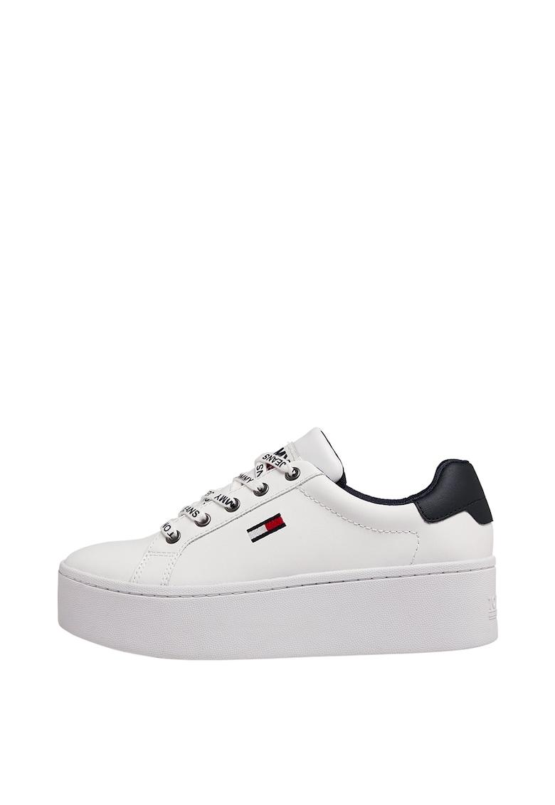 Pantofi sport flatform de piele cu logo imagine promotie