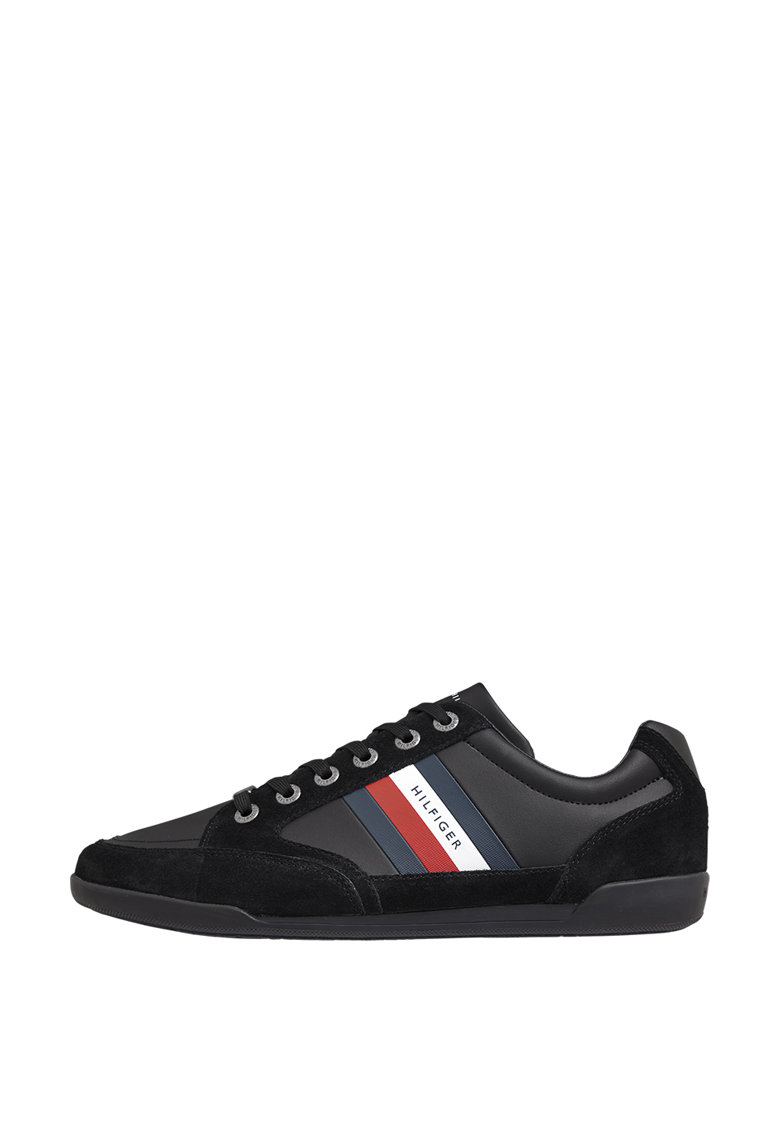 Pantofi sport de piele ecologica si piele intoarsa cu garnitura cu logo imagine promotie