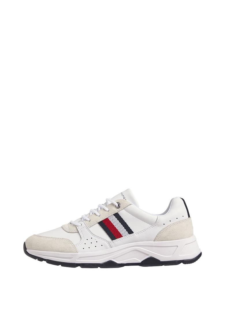 Pantofi sport de piele ecologica cu garnituri de piele si piele intoarsa
