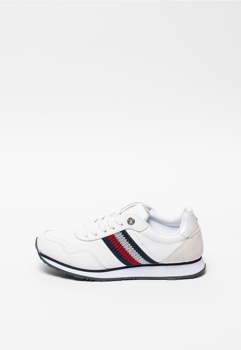 Pantofi sport din piele cu garnituri contrastante