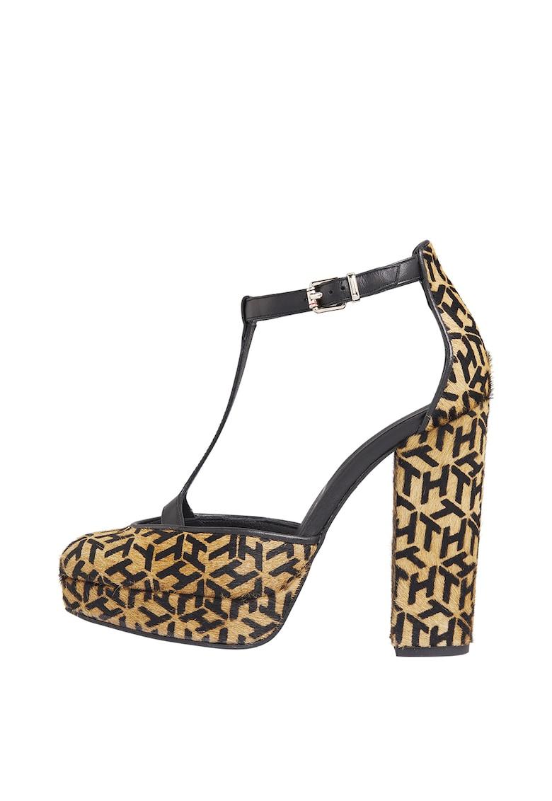 Sandale de piele cu par scurt - cu toc inalt