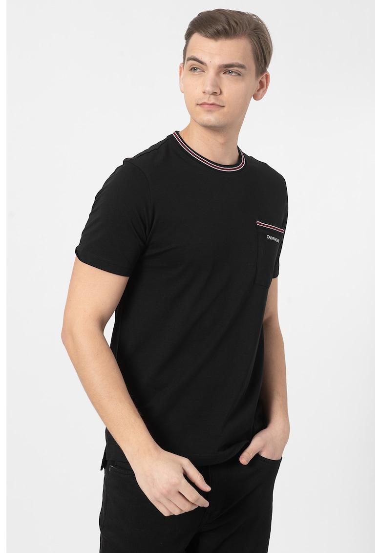 Tricou de bumbac organic cu buzunar pe piept Bărbați imagine