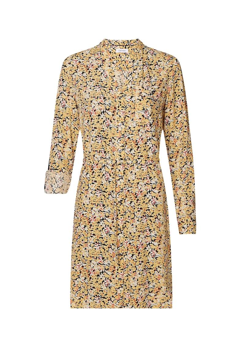 Rochie midi tip camasa cu imprimeu floral
