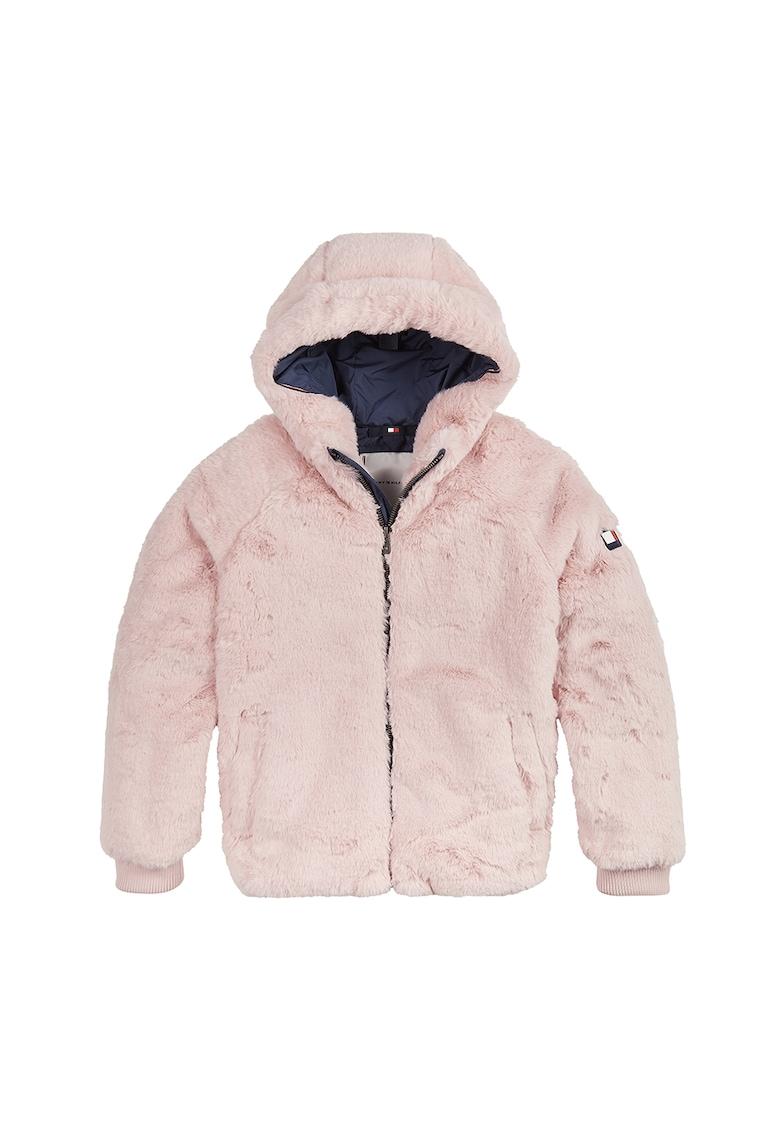 Jacheta din blana sintetica cu fermoar si gluga