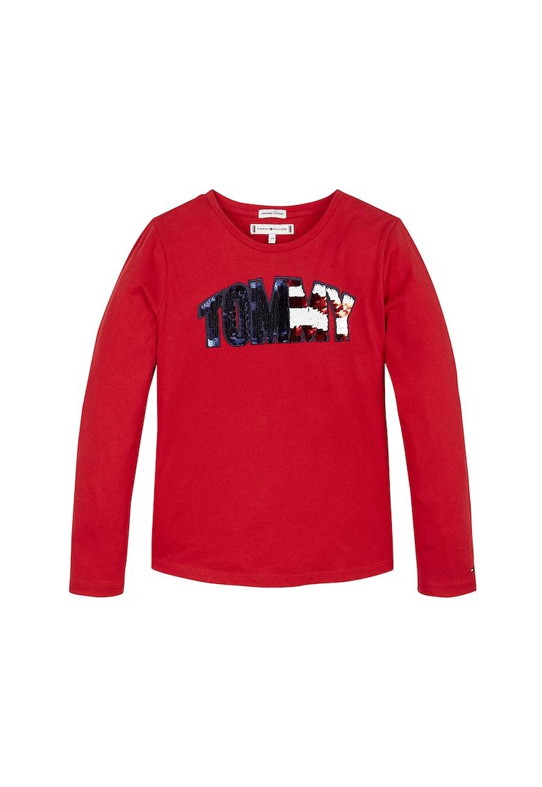 Bluza din bumbac organic cu clapa cu logo si paiete imagine