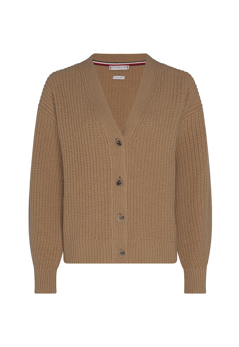Pulover din amestec de lana cu decolteu in V