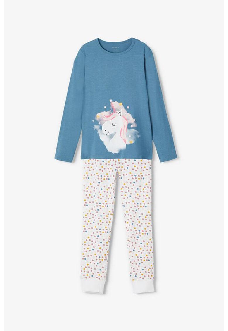 Pijama din amestec de bumbac organic cu imprimeu cu unicorni