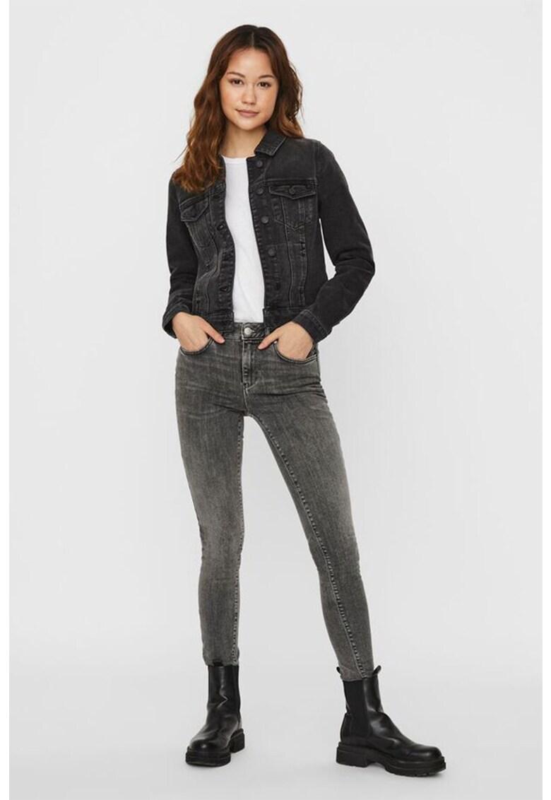 Jacheta din denim cu buzunar pe piept