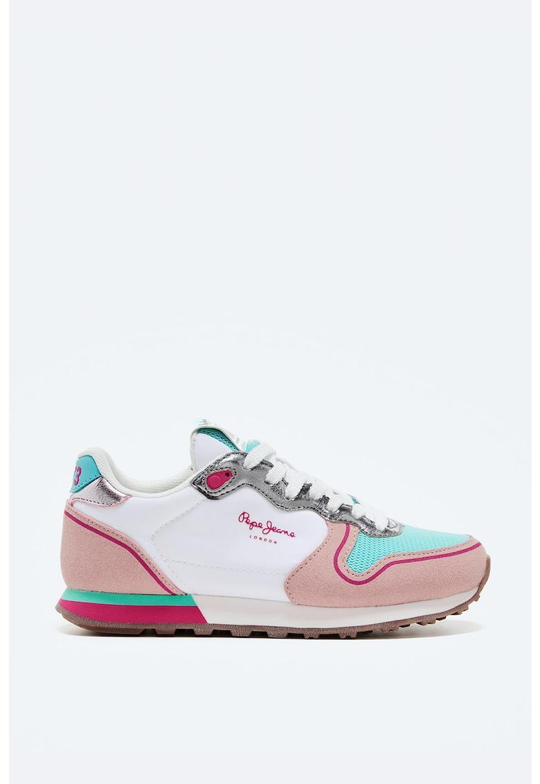Pantofi sport cu model colorblock si detalii din piele intoarsa ecologica