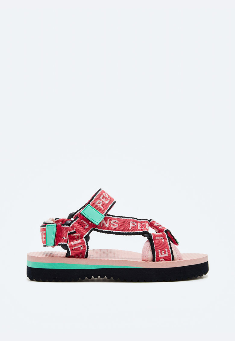 Sandale cu velcro si detalii logo