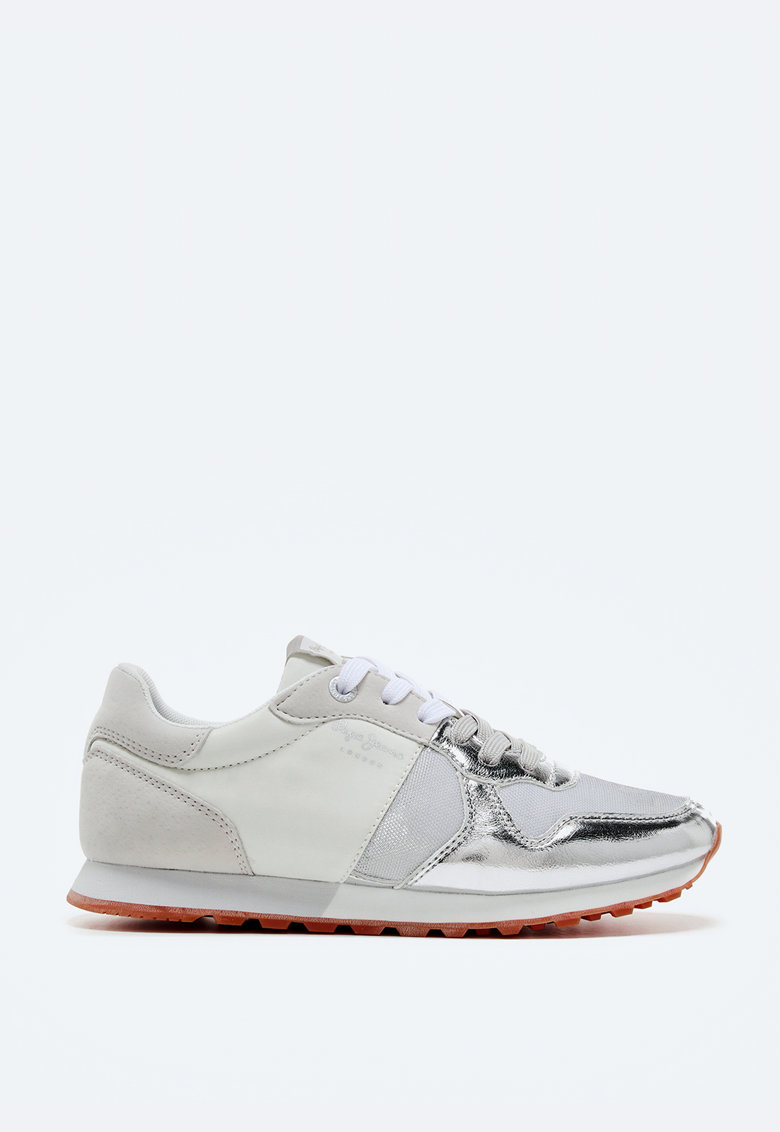 Pantofi sport din plasa cu garnituri cu aspect metalizat